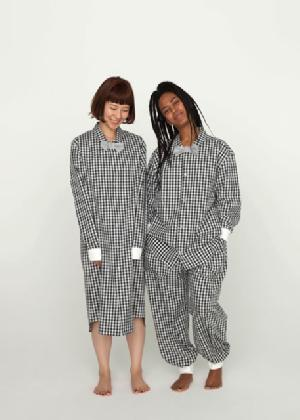 "NOWHAW ノウハウ ""paary pajama(rib)""  gingham check ""パーリー リブ""  ギンガムチェック セットアップ パジャマ カラー:ブラック  (P-S157-H)男女兼用  パジャマ・ナイトウェア関連商品"
